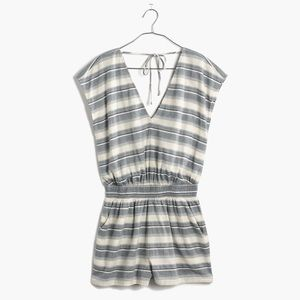 Madewell Blue and White Striped Romper